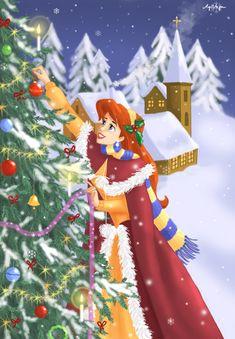 Ariel's Christmas by AgiVega, Walt Disney animation movie enchanting fairytale The Little Mermaid, Christmas tree decorating