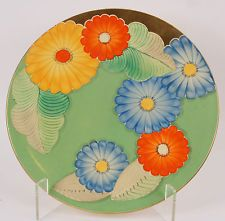 Vintage 1930s A.E Grays Pottery Art Deco Floral Green Wall Charger A3045 (1930)