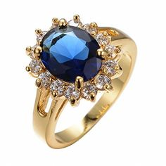 ATHING Rings ATHING Oval Blue Sapphire Ring Yellow Gold Filled Jewely hioSunflower Wedding gagement Rings8