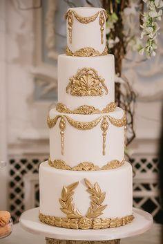 White and gold baroque wedding cake | Elizabeth's Cake Emporium ᘡղbᘠ