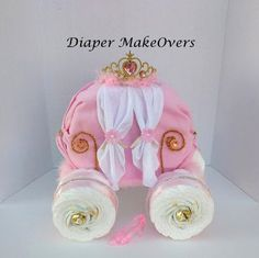 Gold Princess Carriage - Princess Diaper Cake - Unique Baby Girl Baby Shower - Cinderella Carriage - Baby Shower Centerpiece (65.00 USD) by DiaperMakeOvers