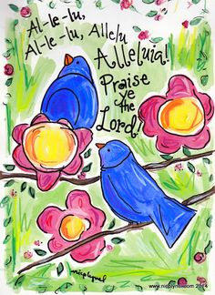 Aleluia Praise Ye the Lord Bluebirds Christian Faith Illustrated Watercolor Print