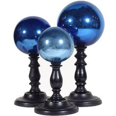 Set of Three 19th Century Blue Mercury Glass Spheres | Interior Design, Gifts, & Antiques Furniture | Branca found on Polyvore