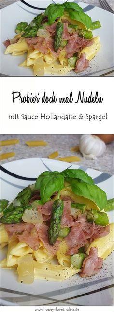 Heute zeige ich euch eine schnelle Spargel-Nudel-Pfanne mit Sauce Hollandaise und grünem Spargel. #spargel #SauceHollandaise #grünerSparge