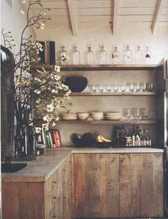 This is my dream kitchen . Wabi sabi rustic kitchen from 'Interiors/Atelier AM' + raw wood cabinets and open shelving Wabi Sabi, Kitchen Interior, Interior And Exterior, Kitchen Decor, Kitchen Shelves, Wooden Kitchen, Reclaimed Kitchen, Wood Shelves, Reclaimed Timber