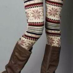 Leggings good for the winter. I would wear these with an oversized brown sweater.