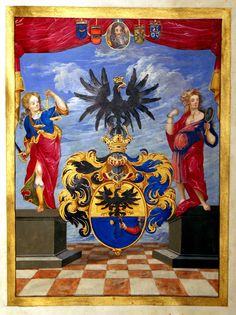 1699 Illuminated Grant of Arms with Royal Seal and signature of Leopold I