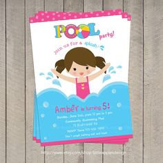 Pool Invitation / Pool Party Invitation / by LittleApplesDesign