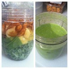 A tastier #nutriblast spinach-kale 'blast w/banana-pineapple-almond-cinnamon-nutmeg. #nutribullet