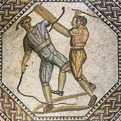Fight of gladiators-paegniarii. Part of floor mosaic from the Roman villa. Ca. 250 C.E. Nennig on Mosel (Germany), Roman Villa.