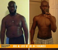 "Joel M. lost 87 lbs in 2 rounds of Insanity! Congrats Joel!! Your transformation is AMAZEBALLS!    ""I no longer have high blood pressure, I'm able to sleep without medication and my digestive issues are gone! Shaun T is motivating and makes you want to continue to #DIGDEEPER!"""