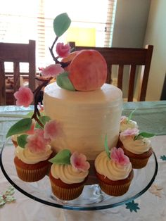 Southern Peach baby shower cake. Original design is not mine. Was request from customer.