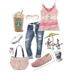 Starbucks with the girls, created by traci-oleary-reuer on Polyvore    Cute! Want the pink TOMS!