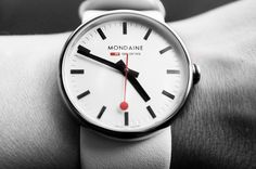 A wristwatch translation of the classic clock design used on the Swiss Railway