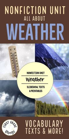 Facts about weather for primary students- includes a PowerPoint slideshow with gorgeous photos and vocabulary practice.  Also includes 3 leveled texts for kindergarten, first grade, and second grade, or can be used with guided reading groups.  Graphic organizers, writing activities, a vocabulary mini-booklet, and even Weather Bingo are included!