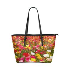 Impressionist of flowers1 Leather Tote Bag/Large (Model 1651)