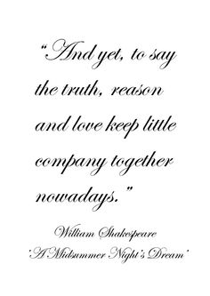 "Midsummer Night's Dream Quotes William Shakespeare From ""a Midsummer Night's Dream""  The"