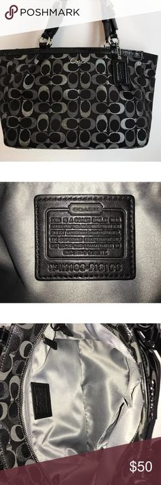 Coach tote purse Used COACH Gallery Optic Black & Metallic Signature Tote Shoulder Handbag F18107 Coach Bags Totes