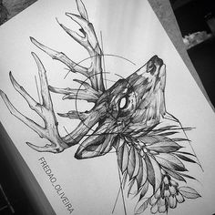 Tattoo Designer Fredao Oliveira Archive Lots of people get tattoo's given that they believe that tattoos are very awesome, and they are. Deer Tattoo, Skull Tattoos, Animal Tattoos, Black Tattoos, Fox Tattoos, Tree Tattoos, Raven Tattoo, Tattoo Ink, Arm Tattoo