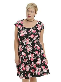 Black Floral Skater Dress Plus Size, BLACK