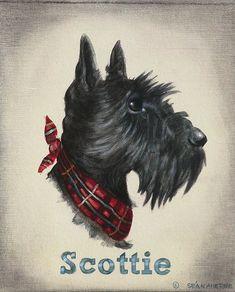 Scottish Terrier Hund Scottie Shabby Chic Holzschild Bild Print