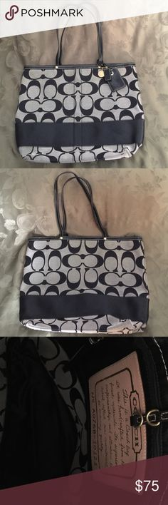 Signature Coach tote bag Black signature print with black stripe at bottom. Black leather trim and handles. Inside has zip pocket. Hook closure. Only signs of wear is in corners of the bottom of the bag but very small. No stains. No trades Coach Bags Totes