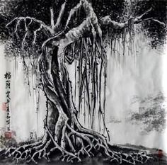 Chinese Trees Painting,50cm x 50cm,1164005-x