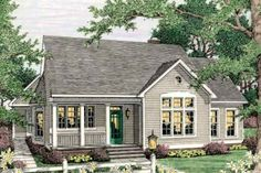 Country Style House Plan - 3 Beds 2 Baths 1543 Sq/Ft Plan #406-266 Exterior - Front Elevation - Houseplans.com