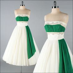 Vintage 1950s Dress . White Green Chiffon . Beaded Strapless