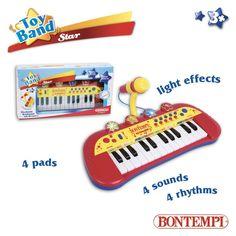 Tastiera elettronica a 24 tasti con microfono • 4 pads • 4 suoni • 4 ritmi • 6 brani preregistrati • Regolazione volume e tempo • Microfono
