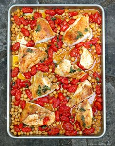 An easy sheet pan dinner: | http://tastefoodblog.com/2013/06/19/smoky-roasted-chicken-breasts-with-tomatoes-and-chickpeas-recipe/