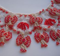 Beadwork lace oya crochet collar necklace red and white by seragun Seed Bead Necklace, Seed Beads, Beaded Necklace, Crochet Collar, Hand Crochet, Collar Necklace, Ornament Wreath, Christmas Wreaths, Beading