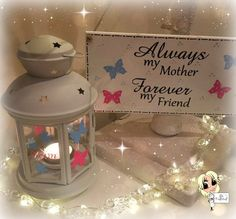 Mother's day Lantern and Sign, Tea light Holder,  Lantern, Candle Glow,Wooden Sign, Gift set by JJsCraftshop1 on Etsy