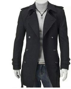 $43.72 #MensOvercoat Lapel Collar Double Breasted Long Sleeves Woolen Men Overcoat Discount Online Shopping