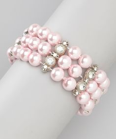 Take a look at the Chit-Chat Pink & Silver Pearl Crystal Stretch Bracelet on #zulily today!