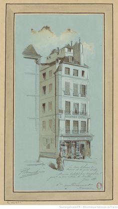 Le coin de la rue de Nevers et du quai Conti - Maison habitée par Napoléon 1er génér.l à son retour de Toulon : [dessin] / JA Chauvet [Jules-Adolphe Chauvet]