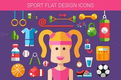 Sport & Fitness Flat Design Icons by Decorwith.me Shop on Creative Market