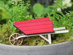 Fairy Garden Wheelbarrow - Miniature Handmade Wooden Red