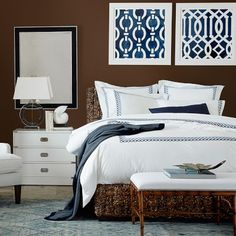 Sorrento Bed #williamssonoma Ralph Lauren feel - mixes beach and equestrian