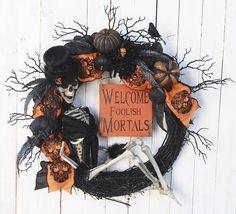 Skeleton Halloween Wreath Mrs. Bones Seductive Welcome
