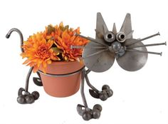 Kitty Cat Metal Pot Holder, Cat-Sculptures-Statues, F14 - AllSculptures.com