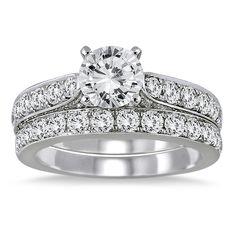 2 1/2 Carat White Diamond Bridal Set in 14K White Gold