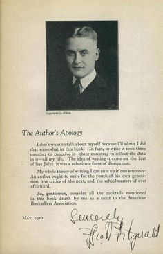F.Scott Fitzgerald's First Author Photo