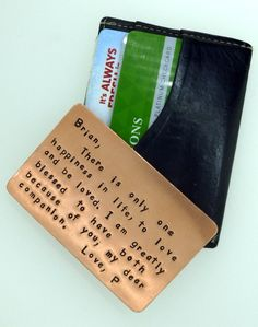 Wallet Insert Card - Copper Hand Stamped - Such a cute idea for our 7th Anniversary, too bad Michael probably wouldn't agree!