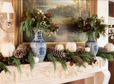 Celebrating fall with fresh magnolia, blue and white and a DIY! - The Enchanted Home