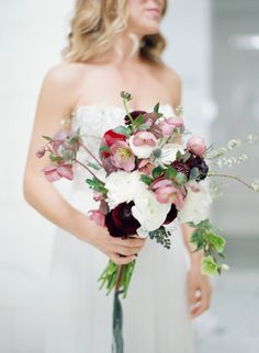 Mauve, maroon and ivory wedding bouquet: Photography : Elizabeth Messina Read More on SMP: http://www.stylemepretty.com/2016/11/30/a-mid-century-modern-style-la-wedding/