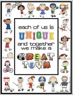 """Sports Themed """"TOGETHER WE MAKE A GREAT TEAM"""" Door Decoration. THE POSTER COMES IN BOTH LANDSCAPE AND PORTRAIT VERSION. Perfect for those busy teachers who may find it difficult to find the time to change their door décor each month or season! Includes a PDF file containing 42 matching sports themed circles to place around poster with student's names or 6 matching blank circles to mount student's picture."""