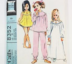 McCall's 8352 Girl's Nightgown Pattern 60s by GraziosaVintage