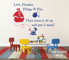 Pirate Wall Decal Loot Plunder Pillage Play by IceCreamVinyl