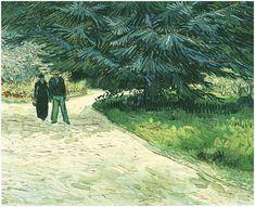 Vincent van Gogh - Public Garden with Couple and Blue Fir-Tree - The-Poet's Garden III, Arles Oct 1888